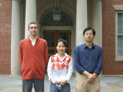 From left, Stefano Manzoni, Shuyi Wang and Liangbo Hu