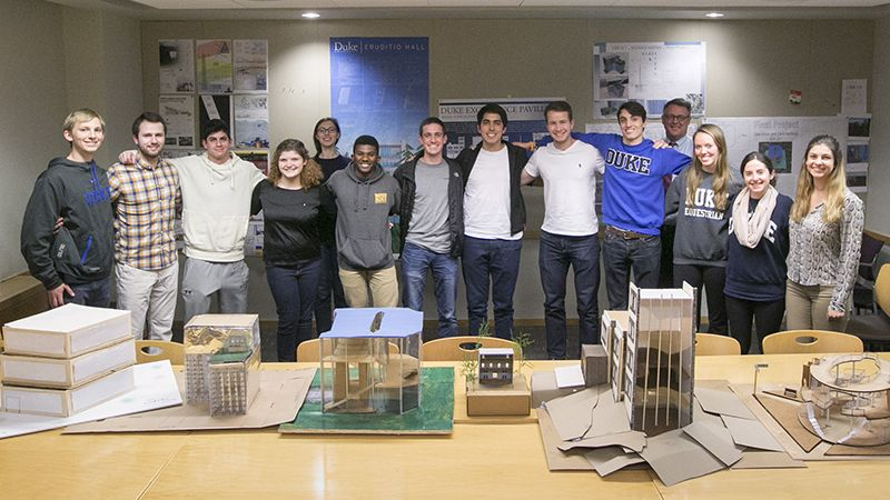 Students working toward Pratt's undergraduate Certificate in Architectural Engineering do hands-on design. Students in CEE 311-Architectural Engineering created designs for a campus pavilion.