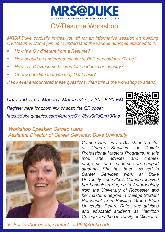 MRS@Duke: CV/Resume workshop