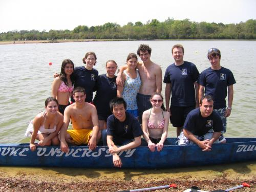 ASCE concrete canoe team post-races at the annual Carolinas Conference held in late March or early April. Students design and build their canoe using highly specialized concrete mixes and reinforcement.