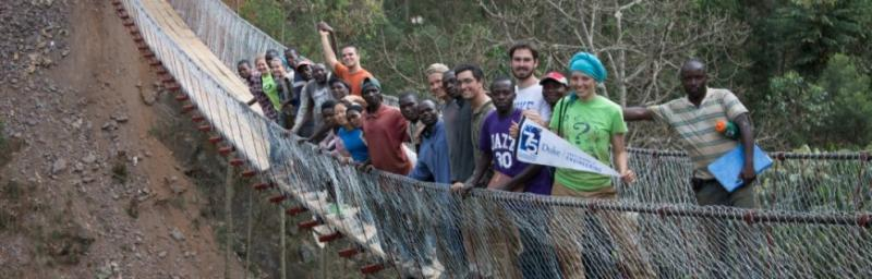 Duke students designed a pedestrian bridge that they built with community partners in Rwanda. Photo courtesy of Duke Engineers for International Development.