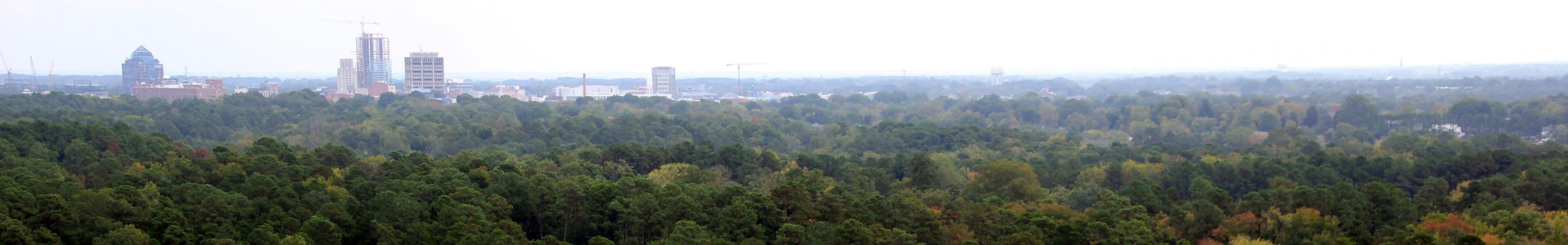aerial view of Duke Forest and Durham skyline