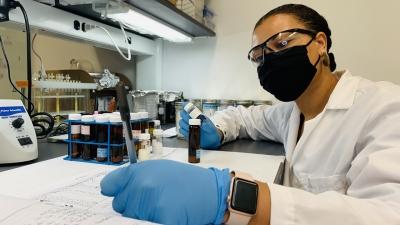 Walker in her lab