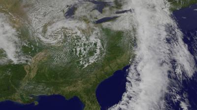 NASA satellite view of clouds over North America