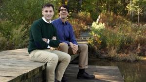 Ryan Calder and Mark Borsuk at the Duke retention pond