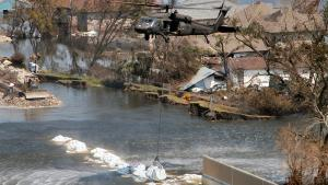 Helicopter over Hurricane Katrina damage