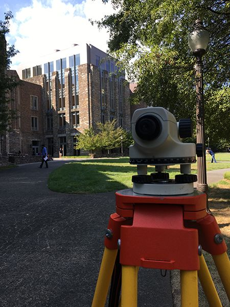 Surveying equipment on the engineering quad