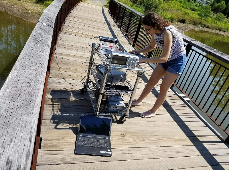 Electrical and electronics engineering student Sueda Taner tests her sonar project at the Duke Reclamation Pond